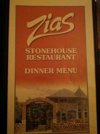 Zias Stonehouse Restaurant: menu cover