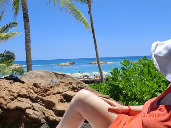 Aulani, a Disney Resort & Spa:                   View from our secret pool sitting spot