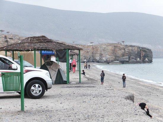 Atana Khasab:                                     Bassa Beach (shaded structure is available)