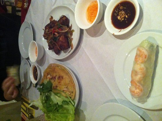 Que Huong Vietnamese Restaurant:                   Starters for 2!! We ordered 2 sharing plates