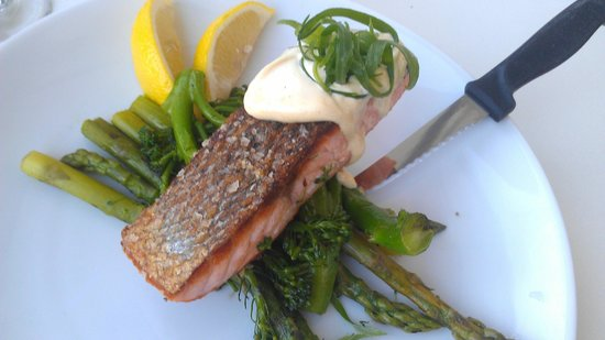 The Wharf: Atlantic Salmon with wasabi mayonnaise
