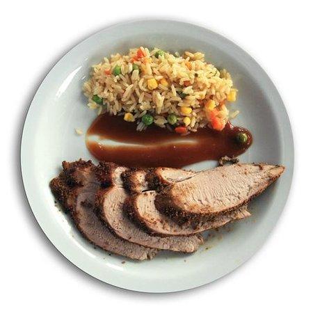 Psistaria Demetris : Herb-crusred Pork Tenderloin & Vegetable Rice