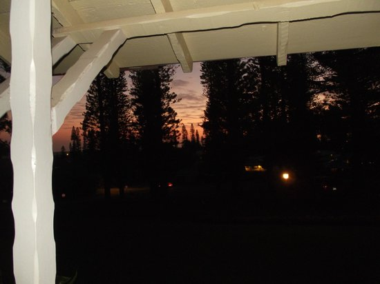 Hotel Lanai:                                     view of the sunset thru the pines