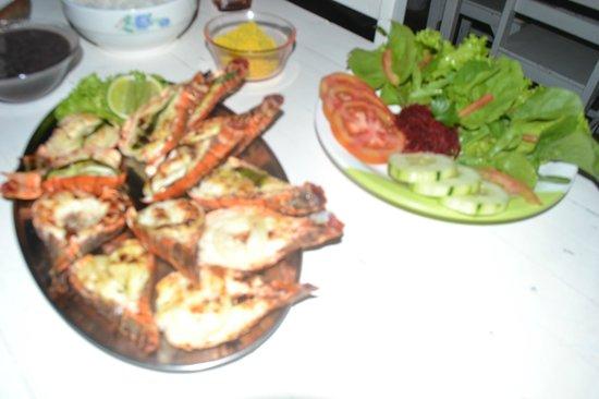 Passeio de bugue as Lagoas Azul e Paraiso:                   lagosta grelhada no Restaurante do Bigode
