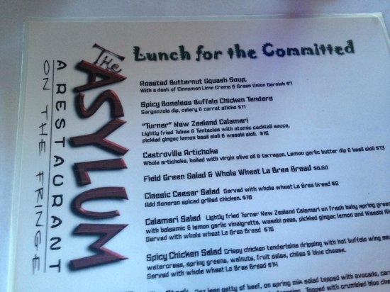 Asylum Menu Partial Picture Of The Asylum Restaurant
