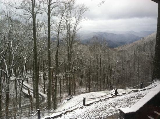 Tuckasiegee River Mountain Lodge:                   snow dusted view