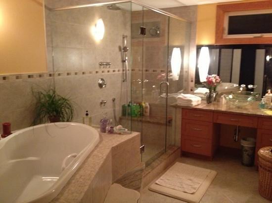 Bella's Beachfront B&B :                                     beautiful tub & shower!!