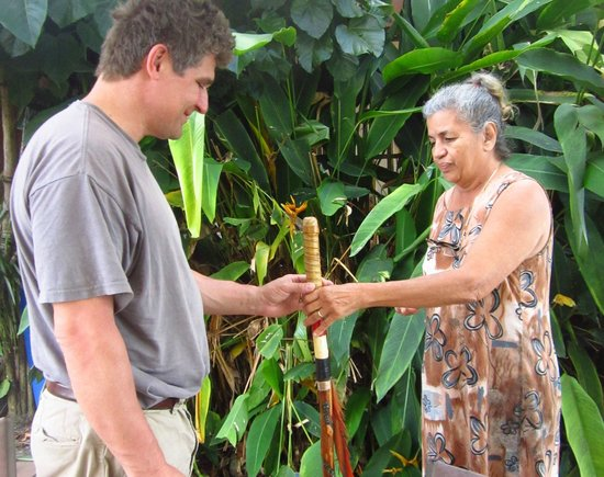 La Paloma Guest House:                   Her sacred walking stick that she bestowed to Bill for the Day to record our h
