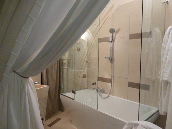 Mercure Poitiers Centre Hotel :                   salle de bain: baignoire avec douche/ vasque
