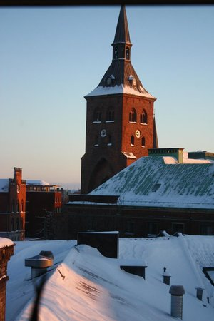Sankt Knuds Kirke:                   Cathedral on a snowy winter morning.