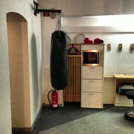 Max Hotel Garni:                                     punching bag on the corridor