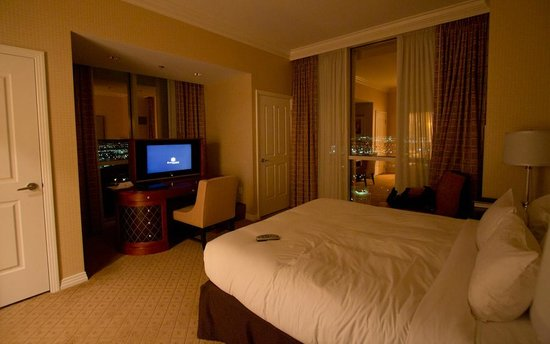 Signature at MGM Grand:                   Great views. The TV actually drops into a hidden slot on the desk when you shu