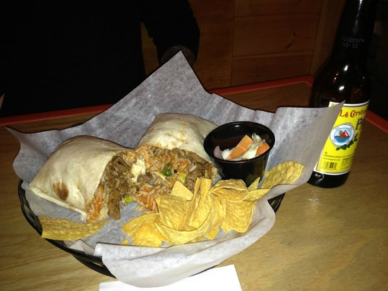 Rick's Cantina: Classic griled steak burrito $9 and $4 Pacifico
