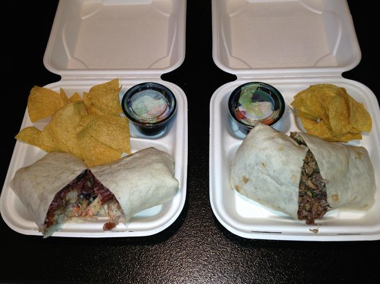 Rick's Cantina: On the left the fried fish burrito $10 on the right the roasted chicken burrito $$9