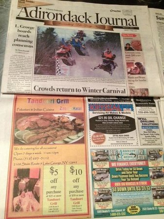 Tandoori Grill: Our Ad in Adirondack Journal on March 2nd, 2013