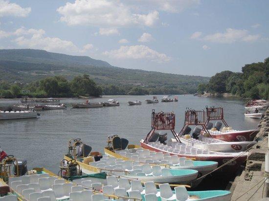 Cañón del Sumidero:                   Tourist boats tied up at riverbank