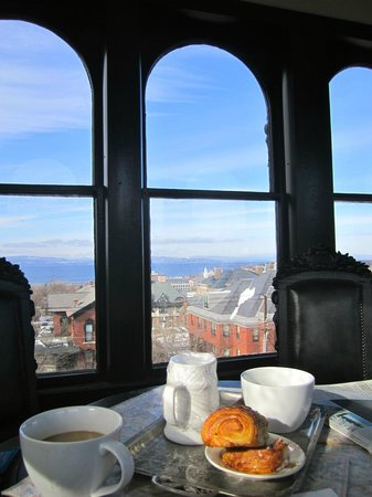 Made INN Vermont, an Urban-Chic Bed and Breakfast:                   Coffee & croissants in the cupola!