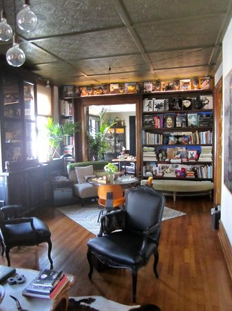Made INN Vermont, an Urban-Chic Boutique Bed and Breakfast:                   Library during the day