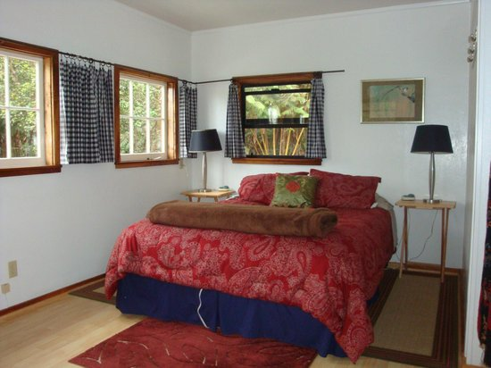 Volcano Guest House:                   Bedroom (upstairs) - You see only green from the windows.  Beautiful!