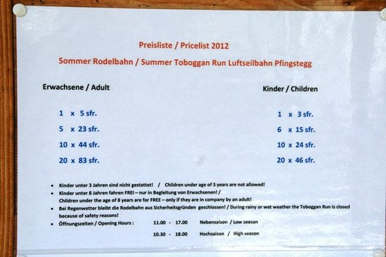 Pfingstegg: price