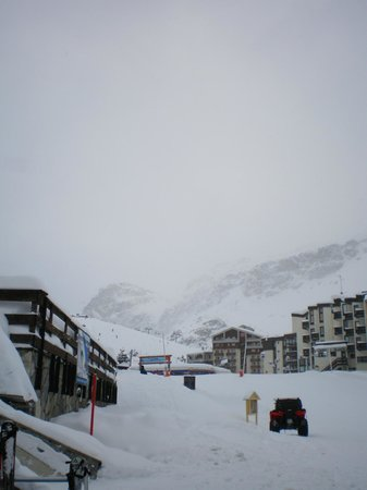 Hotel Vanoise :                   View towards hotel and Tufs lift from Ski Rental Shop