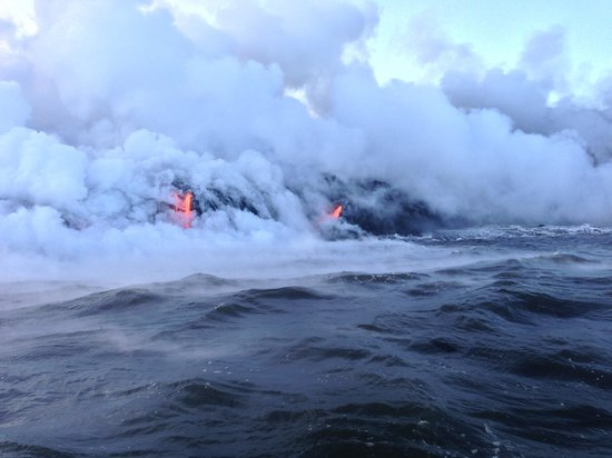 Lava Ocean Tours Inc:                   Lava and steam