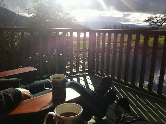 Rowena's Inn on the River:                   Morning coffee on the deck