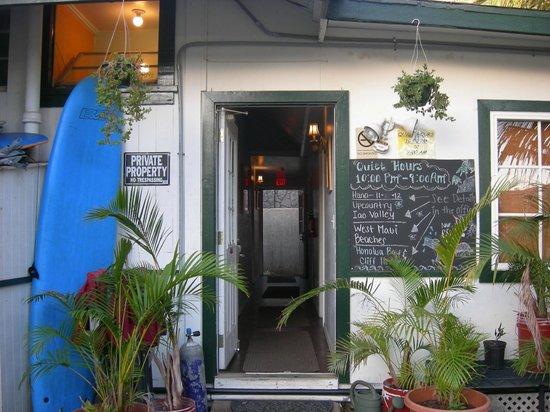 Lahaina's Last Resort Hostel:                   Entrance to hallway with dorm rooms and bathroom (locks at night)