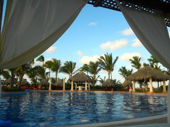 Excellence Punta Cana:                   Lounging on the beds by one of the pools