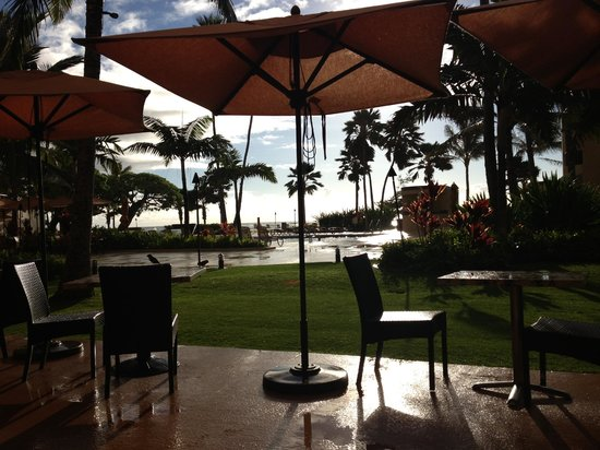 Courtyard Kaua'i at Coconut Beach:                   View from our table at breakfast