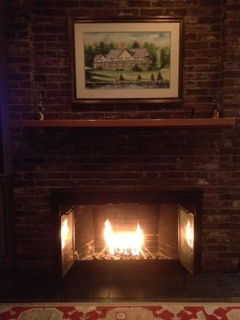 WilloughVale Inn and Cottages: Fireplace in Governor Aiken Room