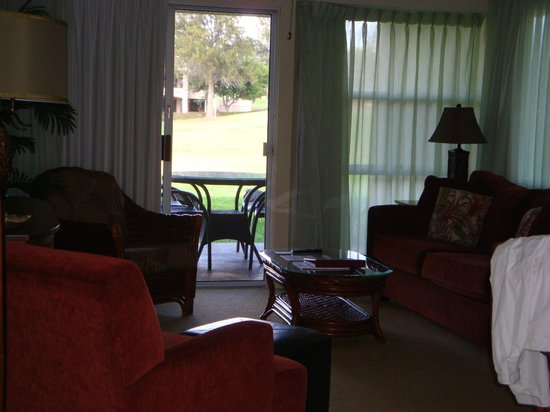Paniolo Greens Resort:                   Comfy furniture in the living room, patio furniture too