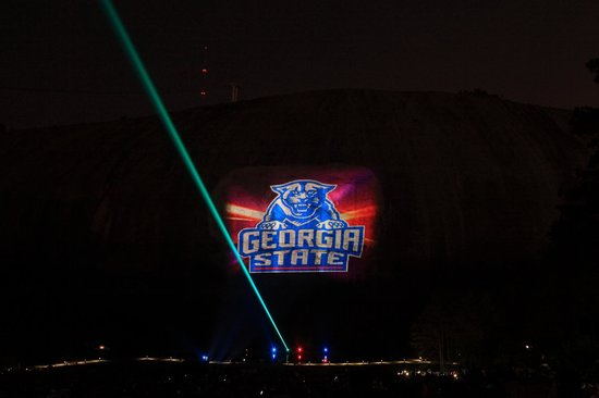Lasershow Spectacular at Stone Mountain Park :                   The major universities of Georgia were called out - GSU, Georgia Southern, UGA
