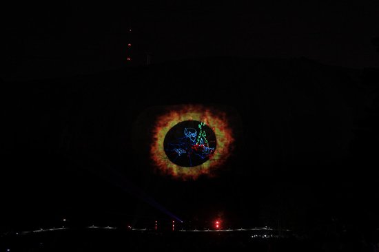 "Lasershow Spectacular at Stone Mountain Park:                   ""The Devil Went Down To Georgia"" was playing (lots of music played)"