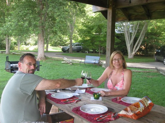 Mountain Springs Cabins:                                     Enjoying a Biltmore Wine at our little slice of heaven!
