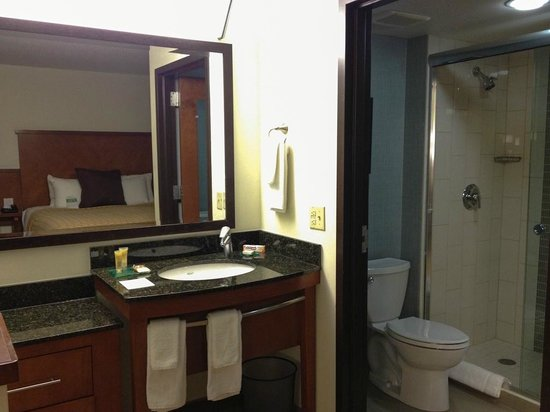 Hyatt Place Denver Airport: our bathroom