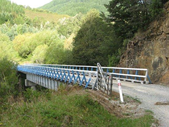 Awapiriti Lodge :                   Bridge across the Maruia river leading to the lodge