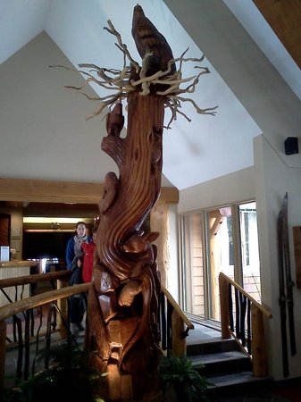 Manning Park Resort:                   Carving in Lodge Entrance
