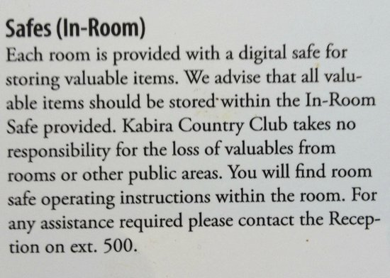 Kabira Country Club :                                     Hotel advice regarding safe