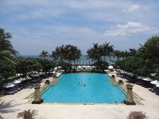 Conrad Bali:                   Main Pool viewed from Lobby balcony