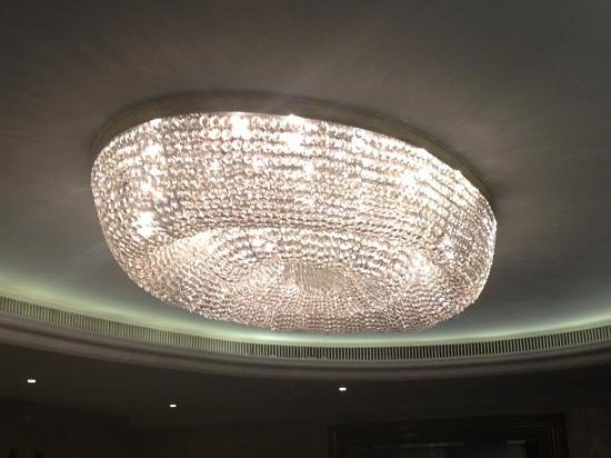 London Hilton on Park Lane:                                                       one of the chandiliers at the Hilton Park