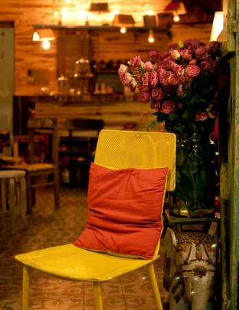 Bicycle Up Coffee Bar and Store:                                                       the chair and pillow