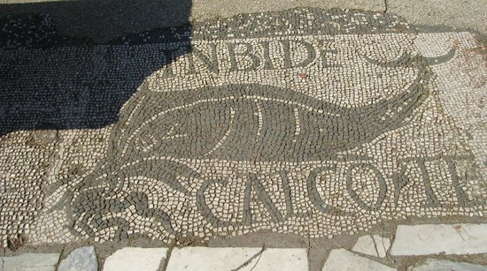 "Ostia Antica: Mosaic floor in front of the ""fish shop"""