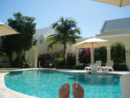 Reef Residences on Grace Bay:                   My wife's toes toward the pool.