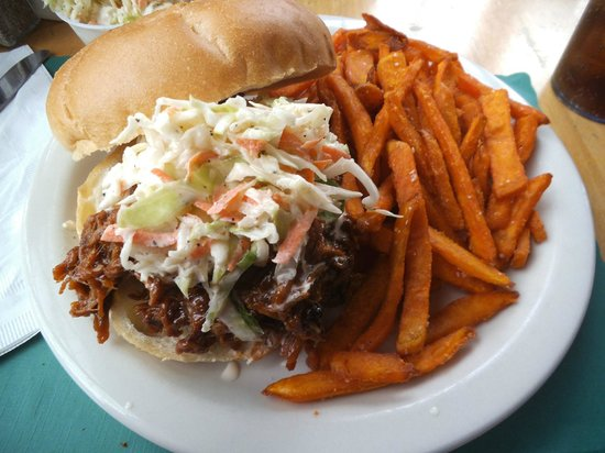 Billy Bob's BBQ: Pulled pork with coleslaw and sweet potato fries