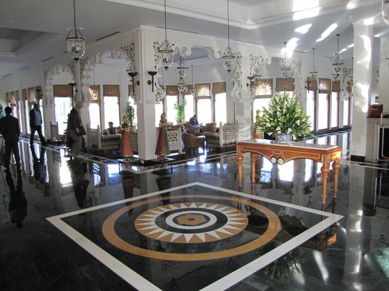 Trident Udaipur:                   The entrance hall and relaxing areas around