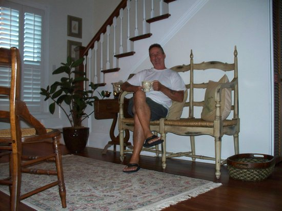 Blue Heron Inn - Amelia Island:                   Tim, relaxing relaxing with coffee in the quaint 2nd floor living room