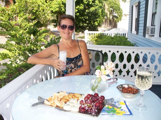 Blue Heron Inn - Amelia Island:                   Here I am, on the veranda, relaxing with complimentary afternoon snacks