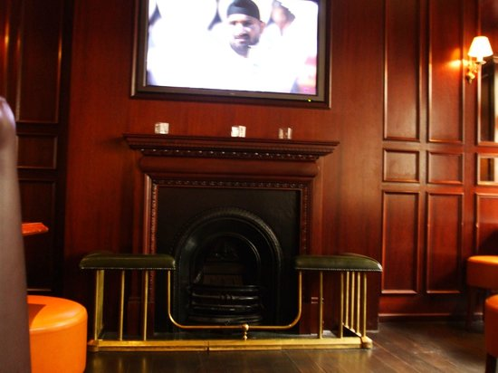 The Lion Pub:                                     Fire place and flat screen tv