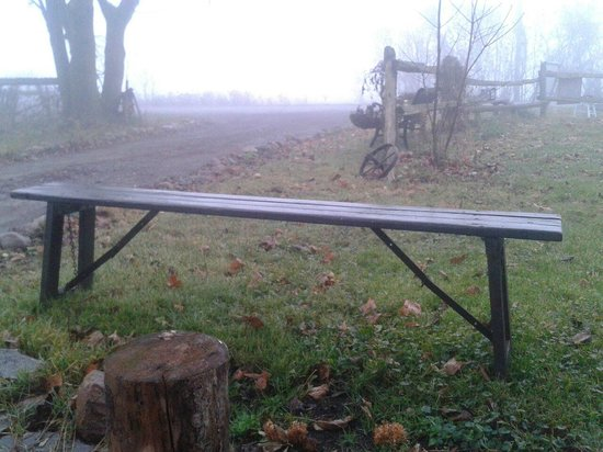 Country Chic Shabby Chic & All Things Country: Antique bench on the front lawn